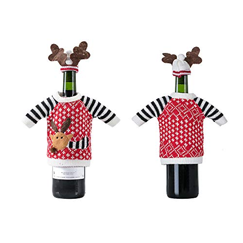 Elk Wine Bottle Cover Christmas party decoration Knitted Ugly Sweaters for Wine Champagne Bottle Covers Black 2pcs ()