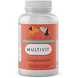 Multivitamin For Dogs Advanced Daily Supplements To Improve Dog Health Multivitamins, Nutrients, Calcium, Digestive Enzymes and Antioxidants 180 Chicken Liver Taste Chewable Tablets