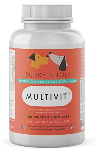 (Multivitamin For Dogs Advanced Daily Supplements To Improve Dog Health Multivitamins, Nutrients, Calcium, Digestive Enzymes and Antioxidants 180 Chicken Liver Taste Chewable Tablets)