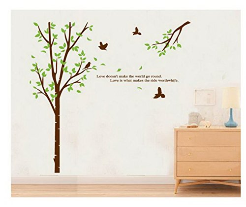 Tree and Birds Wall Stickers DIY Mural Art Decal Self Adhesive Removable PVC Wallpaper Decor,Brown,Green,23.6 inch*35.28 inch Original
