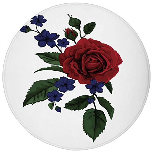 - WEWELA Round Rug Mat Carpet,Rose,Rosebud with Little Blossoms Leaves Love and Passion Theme Artful,Ruby Violet Blue Hunter Green,Flannel Microfiber Non-Slip Soft Absorbent,for Kitchen Floor Bathroom