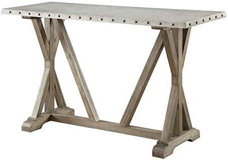 Rustic Sofa Table with Nailhead Trim Driftwood