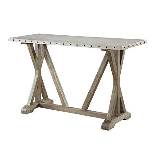 Rustic Sofa Table with Nailhead Trim Driftwood