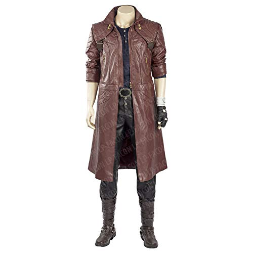 Mens DMC Devil May Cry 5 Dante Cosplay Costume Maroon Leather Coat -