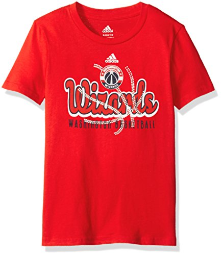 fan products of NBA Girls 7-16 Washington Wizards Middle Basketball Short Sleeve Tee-Red-M(10-12)