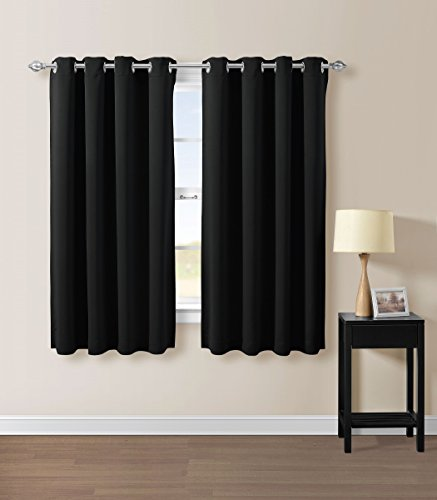 Solid Grommet Top Thermal Insulated Blackout Window Curtain - Black - 52