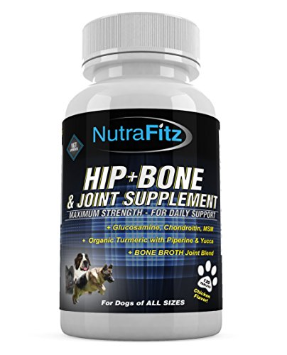 HIP BONE & JOINT SUPPLEMENT For Dogs- with Glucosamine, Chondroitin, MSM, Organic Turmeric,Yucca, Bone Broth-For Hip Dysplasia, Arthritis pain relief for dogs joints. Advanced Formula Done Right