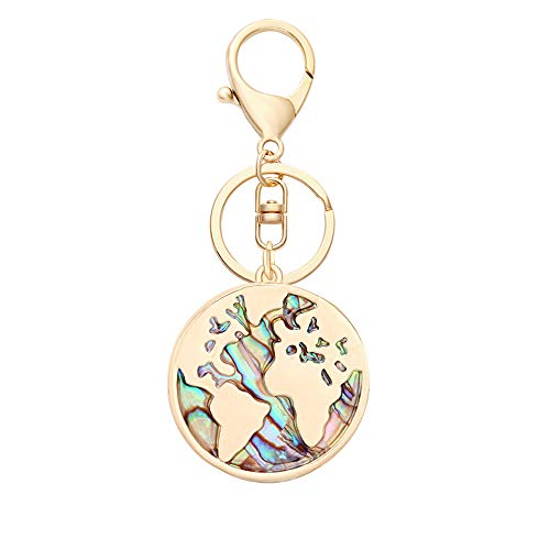 (SENFAI 3 Tone Nature Abalone Shell World Map Keychain Bag Jewelry Accessories (Gold))