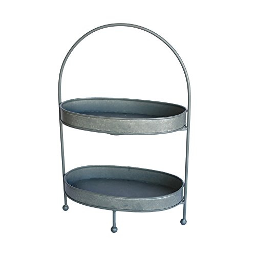 (Colonial Tin Works Rustic Two Tier Oval Metal Tray)