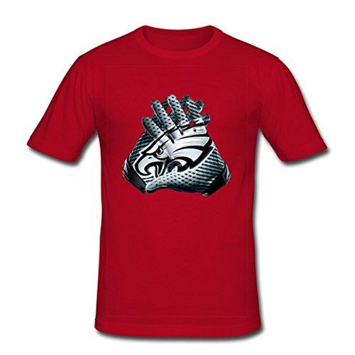 JIUDUIDODO Men's Crew Neck Cotton NFL Philadelphia Eagles T-Shirt XL Red
