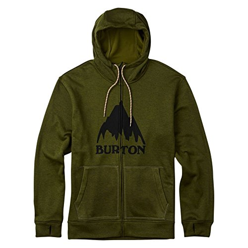 Burton Men's Oak Full-Zip Hoodie, Olive Branch Heather, (Burton Mens Hood Jacket)