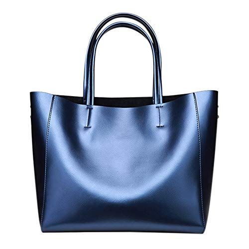 (Anynow Luxurious Women's Real Leather Handbag Fashion Cowhide Shoulder Bag Ladies Tote Bag(Blue) )