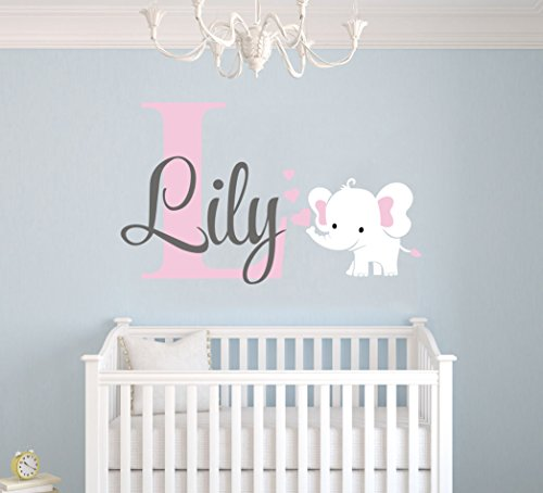 Personalized Name Elephant Animal Series And Hearts - Baby G
