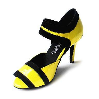 XIAMUO Anpassbare Damen Tanzschuhe Latein/Ballsaal Kunstleder angepasste Ferse Gelb/Rot/Pink, Rot, Us8.5/EU39/UK6.5/CN 40