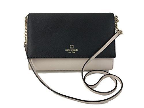 Liz Claiborne Black Leather (Kate Spade Alek Charlotte Street Colorblock Leather Crossbody Bag in Pumice Black)