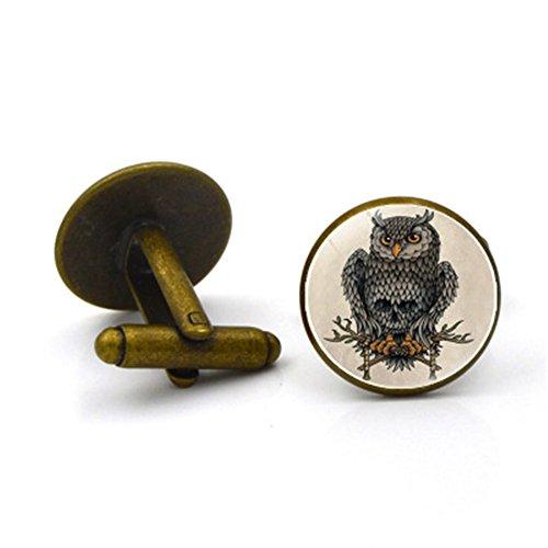 Da.Wa Owl Time Gem Metal Cufflinks Mens Cuff link Round Shape Cufflinks Gift for Men/Father's Day/Lover/Friends/Wedding/Anniversaries/Birthdays by Da.Wa (Image #7)