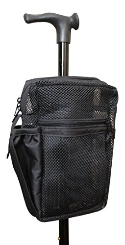 Cane Buddy - Secure Pouch, Accessory Bag for Cane, Walker, Crutches and Wheel Chairs (Black) (Best Cane For Balance Problems)