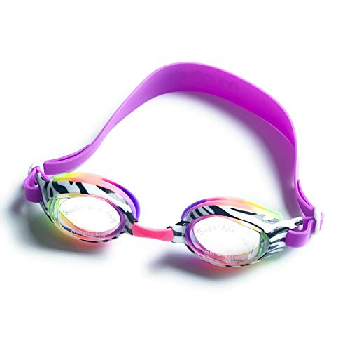 Aqua2ude Girls Youth Swimming Goggles Rainbow Zebra Print