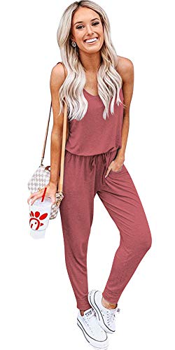 - ALAIX Women's Casual Jumpsuit Crewneck Overall Sleeveless Drawstring Romper Long Playsuits with Pockets Brick Red-S