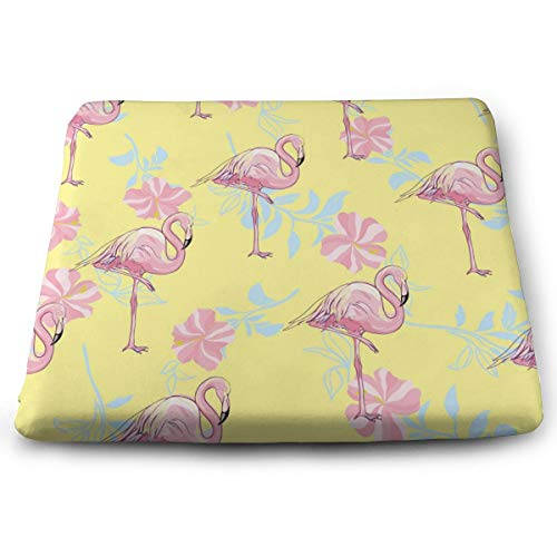 Pamdart Flamingo Seamless Pattern On Mint Green Yellow Customized Square Seat Cushion Memory Cotton Zipper Detachable for Dining Table Patio Chair