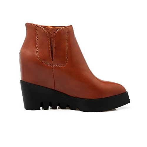 Pull Closed Pointed Heels Toe Soft High On Brown Boots Womens High Ankle AmoonyFashion Material wWgcU1Rfnx