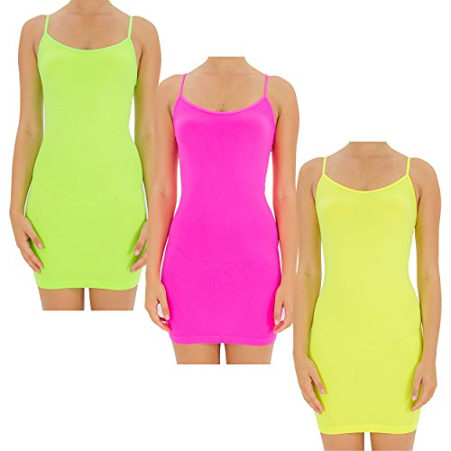 Neon Pink Green (TD Collections Women's Seamless Extra Long Camisole with Spaghetti Strap (Neon Green/Neon Pink/Neon Yellow))