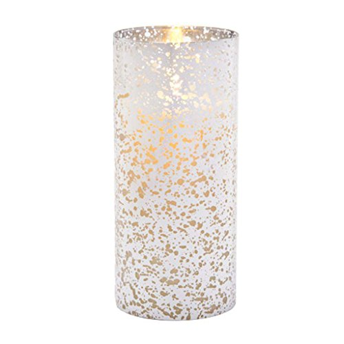 Luminara Flameless Candle Silver Mercury Glass Pillar Cylinder 8 (Cylinder Candle Lamp)