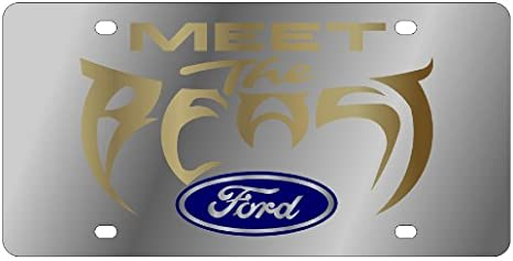 Meet The Beast Polished Stainless Steel License Plate for Ford Meet The Beast Inc Eurosport Daytona