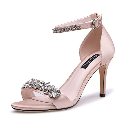 onlymaker Women's Satin Open Toe Rhinestone Ankle Strap Strappy Sandals Jewel Embellished High Heel Stiletto Pumps Nude 7 M US (Rhinestone Ankle Strap Sandal)
