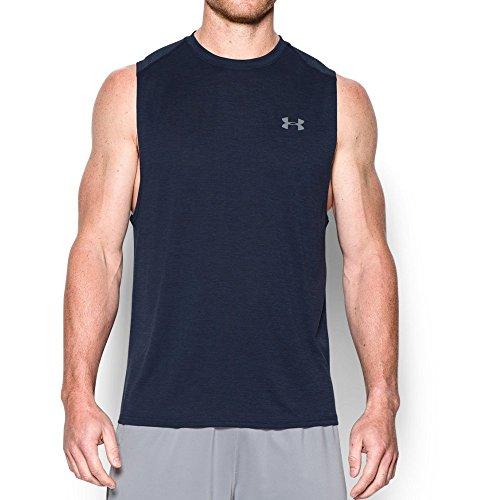 Under Armour Men's Tech Muscle Tank, Midnight Navy (410)/Steel, Large (Sleeveless Shirt Tech)