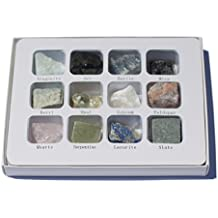 Chillipepperstone 12 Natural Mineral Untumbled Rock Science Stone Collection - Non-Metalic Sample Set