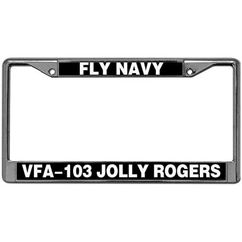 License Plate Cover Tag for US Canada Cars VFA-103 Jolly Rogers Fly Navy License Plate Frame Metal Chrome Automotive License Plate Frame Inlcudes Screws