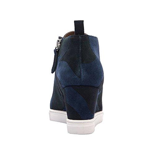 Linea Paolo Felicia | Scarpe Da Donna Con Zeppa Bootie Sneaker In Pelle Scamosciata O Camoscio Scamosciato Blu Scuro / Verde Camoscio Stampato