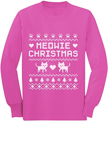 Tacky Sweater Ideas (Meowie Christmas Ugly Sweater Cute Kittens Xmas Toddler/Kids Long sleeve T-Shirt 4T Pink)