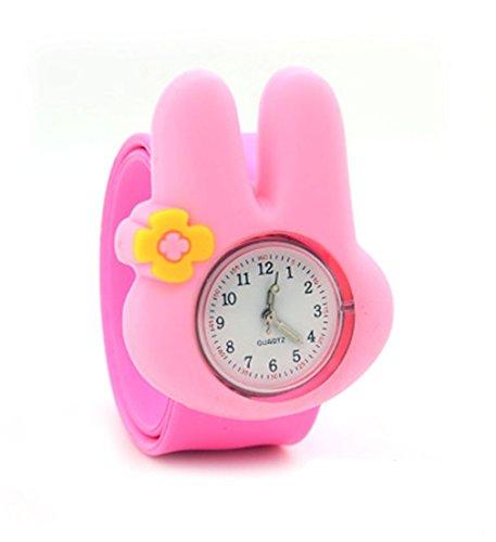 Vavna Lovely Top Quality Boys Girls Fashion Animal Silicone Slap Snap On Wrist Watch - Pink Rabbit -