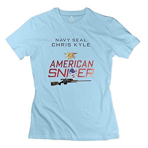 QDYJM Women's American Sniper Punisher Chris Kyle T-shirt - XL SkyBlue