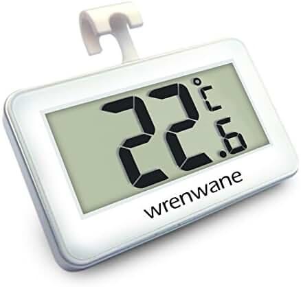 Wrenwane Digital Refrigerator Freezer Room Thermometer, White