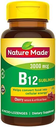 Nature Made Sublingual Vitamin B12 3000 mcg. Cherry Flavored Lozenges 40 Ct