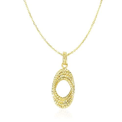 14K Yellow Gold Textured Entwined Open Oval Sections (Textured Oval Pendant)