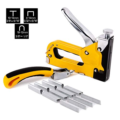 Gunpla Staple Gun 3 in 1 Manual Nail Gun with Staple Remover and 1500 Staples - 3 Way Tacker Hand Operated Steel Stapler Brad Nail for Fixing, Decoration, Carpentry, Furniture, Doors, Windows