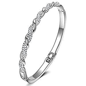 LadyColour Never Be Apart Silver Tone Bangle Bracelet Swarovski Crystals Jewelry for Women Birthday Christmas Gifts for Women Girlfriend Wife Daughter Sister Anniversary for Her