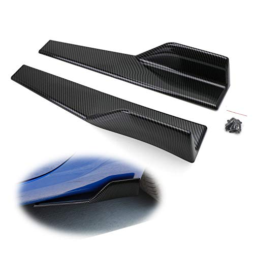 iJDMTOY Left/Right Black Carbon Fiber PP Universal Rear Side Skirt Winglets Diffusers For Car