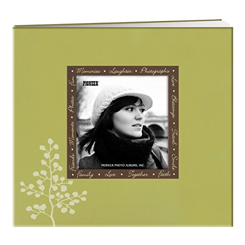 Pioneer Photo Albums MB-88EVF/L 20 Page Designer Printed Raised Frame Leaves Cover Scrapbook for 8 by 8-Inch Pages