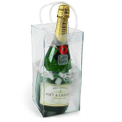 Akak Store 1 Pcs Portable Collapsible Clear Transparent PVC Ice Bag Champagne Wine Pouch Cooler Bag with Handle by AKOAK (Image #3)