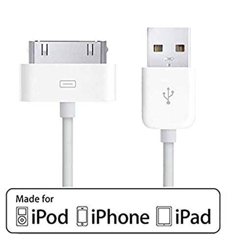 [Apple MFI Certified] ACEPower 4 Feet (1.2M) 30 pin USB Sync and Charging Cable for iPhone 4 / 4S, iPhone 3G / 3GS, iPad 1 / 2 / 3, iPod nano 5th / 6th generations and iPod Touch 3rd / 4th generations, (Cable Itouch 5)