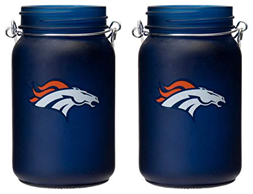 TSA NFL Denver Broncos LED Mason Jar Lantern 2pk ()