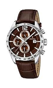 University Sports Press  F16760/2 - Reloj de cuarzo para hombre, con correa de cuero, color marrón