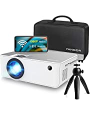"""1080P HD Projector, WiFi Projector Bluetooth Projector, FANGOR 230"""" Portable Movie Projector with Tripod, Home Theater Video Projector Compatible with TV Stick, HDMI, VGA, USB, Laptop, iOS & Android photo"""