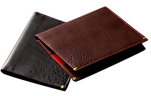 Passport Wallet Travel Folio by Güs in Splitshot Saddle Leather   Made in Italy (Black Splitshot Perforated) by Güs