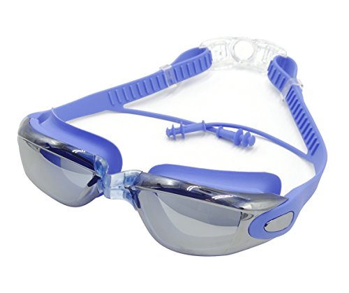 Penta Angel Best Clear Lens Anti-Fog Waterproof swim goggles with Earplug (Blue)